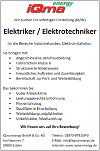 Stelle_Elektriker_Sauerland_iQma-energy